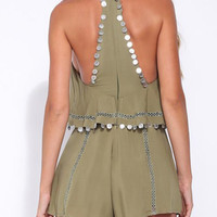 Olive Green Coin Drop Lattice Detail Overlay Romper Playsuit
