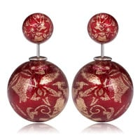 Gum Tee Mise en Style Tribal Earrings - Oriental Red