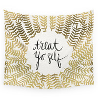 Society6 Treat Yo Self - Gold Wall Tapestry