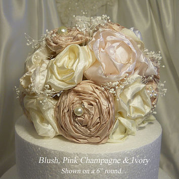 Blush, Pink Champagne and Ivory Cake Topper, handmade of silk fabric flowers, lace, pearls and babies breath.