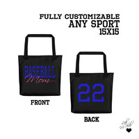 Sports Mom Custom Jersey Number Tote Bag