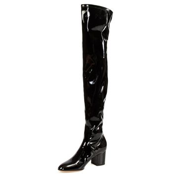 Valentino Patent Leather Over The Knee Boots | Black | Multiple Sizes