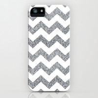 Silver Glitter Chevron Pattern iPhone & iPod Case by Elizabeth Doyle