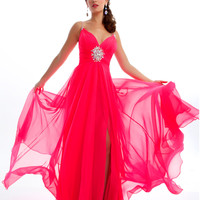 Mac Duggal Prom 2013 - Candy Pink Chiffon Rhinestone Prom Gown - Unique Vintage - Prom dresses, retro dresses, retro swimsuits.