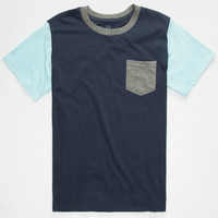 Blue Crown Tri Color Boys Pocket Tee Blue  In Sizes
