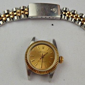 1984 LADIES ROLEX OYSTER PERPETUAL STAINLESS STEEL & 18K GOLD REF# 67193