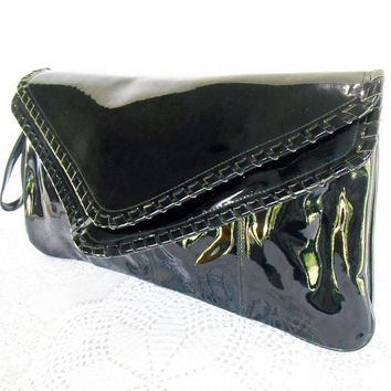 Vintage Eighties Black Clutch, Large Patent Leather Clutch,  15 x 8.5,Holiday Fair, Made in Taiwan, Envelope Clutch, Faux Patent  Leather
