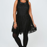 Black Floral Lace Dress With Jewelled Peter Pan Collar plus size 14,16,18,20,22,24,26,28