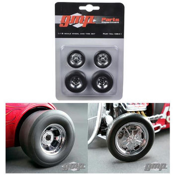 Chromed Hot Rod Drag Wheels and Tires Set of 4 1-18 by GMP