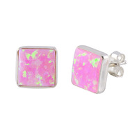 Pink Opal Gemstone Stud Earrings Sterling Silver 9mm Square