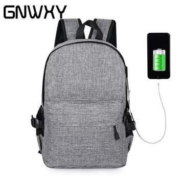GNWXY 6 Colors Men Long Travel Waterproof Backpacks Smart USB Recharging Laptop Backpack Women Fashion Simple Vintage School Bag