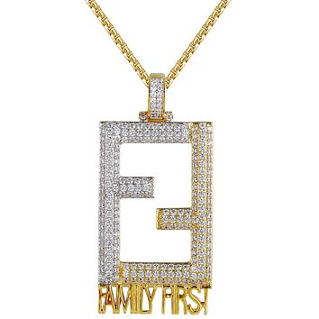 Men's Family First Two Tone Silver Iced Out Custom Pendant