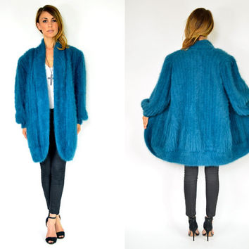 avant garde ANGORA jewel tone oversized DRAPED sweater COCOON cardigan, extra small-large
