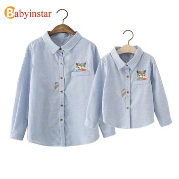 Babyinstar 2017 New Spring Family Matching Outfits Cute Cat Pattern Stripe Shirts Mother & Daughter Clothes Family Look