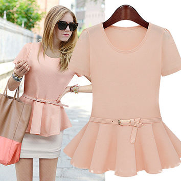 Short-Sleeve Peplum Blouse With Belt