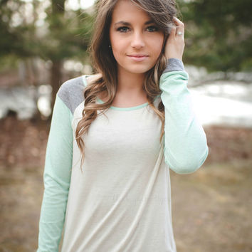 Mint & Gray Long Sleeve Top