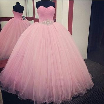 Ball Gown Sweetheart Tulle Pink Quinceanera Dresses