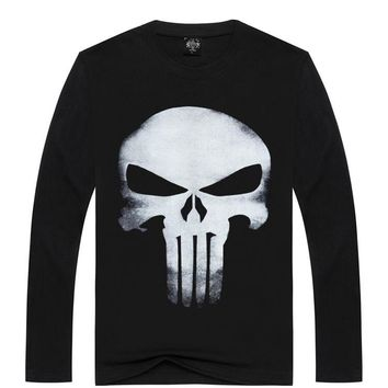 2017 3D Funny Skull Men Print Male tactical t shirt Brand Design Quality punisher t shirt spring Long Sleeve Cotton Tees