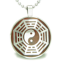 Yin Yang BA GUA Eight Trigrams Cherry Wood Amulet Circle Pendant 18 Inch Necklace