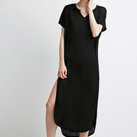 Slub Knit High-Slit Dress