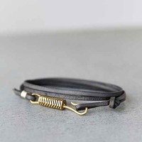LHN Brass Grey Leather Bracelet- Grey One