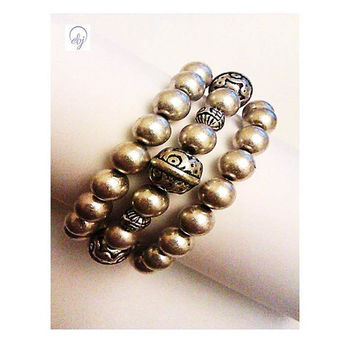 Silver Plated Metal Stretch Bracelet - Upcycled Jewellery