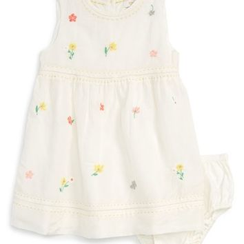 Mini Boden 'Charming Petal' Flower Embroidered Dress (Baby Girls & Toddler Girls) | Nordstrom