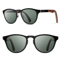Women's Shwood 'Francis' 49mm Polarized Titanium & Wood Sunglasses