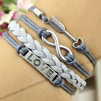 LOVE the arrow - infinity bracelet bracelet - friendship LOVE leather cord bracelet - fashion bracelet - blessing - girlfriend and BFF