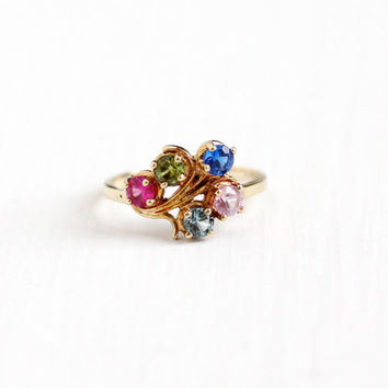 Vintage 10k Rosy Yellow Gold Colorful Created Gem Cluster Ring - 1970s Size 6 Retro Mother's Blue, Pink, Green Birthstone Ring Fine Jewelry