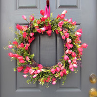 Spring Tulip Wreath, Pink Tulip Wreath, March Wreaths, Boxwood