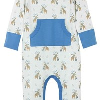 Kangaroo Romper (Moose on White) by Feather Baby