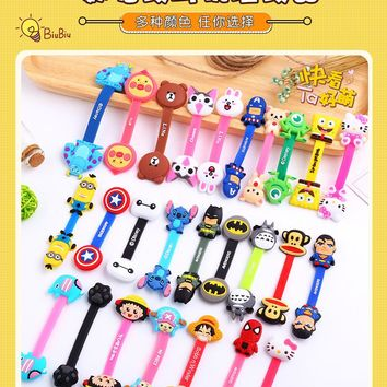 50pcs/lot Cartoon Cable Winder Earphone Data Line Cable Cord Organizer Holder Mouse Keyboard Silicone Winder for Computer