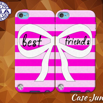 Pink Best Friends Pair Matching Stripe Bow Cute BFF Custom Case For iPhone 4 and 4s and iPhone 5 and 5s and 5c and iPhone 6 and 6 Plus +
