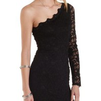 One Shoulder Lace Bodycon Dress by Charlotte Russe
