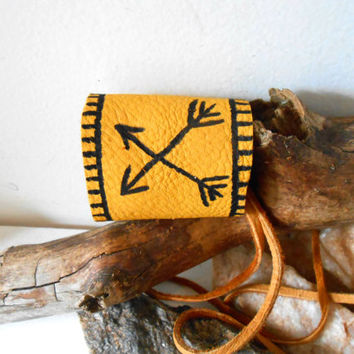 Leather Cuff Bracelet with Hand Drawn Native American Crossed Arrow Symbol, Handmade, Hippie, Hipster, Boho, Rendezvous, Festival, Tribal