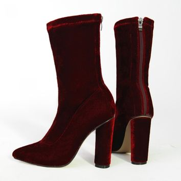 Rebeca high Ankle Boots Velvet - Burgundy