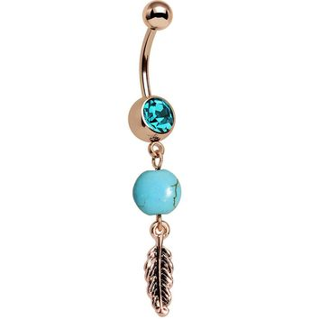 Aqua Gem Rose Gold Anodized Faux Turquoise Feather Dangle Belly Ring
