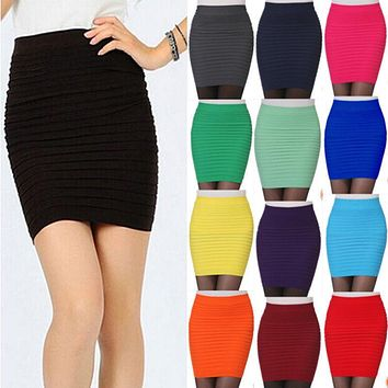 Hot New Fashion Women Ladies Sexy Pencil Skirt Seamless Elastic Pleated High Waist Slim Mini Skirts For Office Party Cheap F2