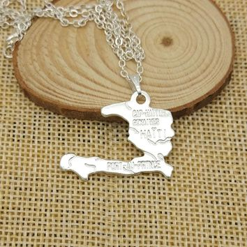 Haiti map necklace