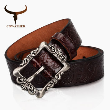 COWATHER 2017 cow genuine leather belts for Women luxury strap female Cashew flowers high quality pin buckle free shipping