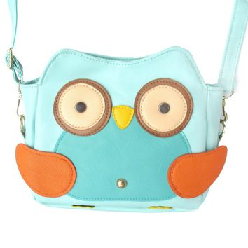 Owl Shaped Animal Bird Themed Cross body Shoulder Bag for Women in Mint Blue