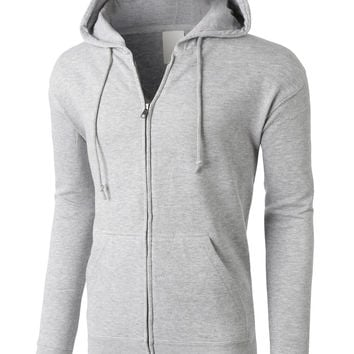 LE3NO PREMIUM Mens Heavyweight Fleece Full Zip Up Hooded Sweatshirt (CLEARANCE)