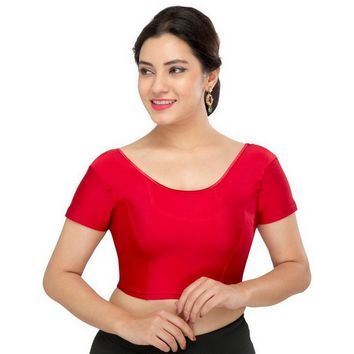Saris and Things Maroon Strech Lycra Stretchable Saree Blouse Crop Top A-10-maroon