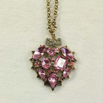 pink heart necklace with gold chain  betsey johnson