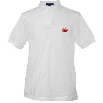 Crab Needlepoint Polo Shirt in White by Smathers & Branson