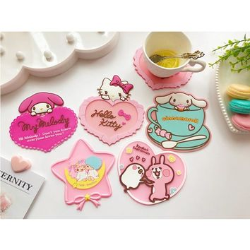 Hello Kitty Styling Cup Coaster Cute Insulated Coaster Home Decoration 6D