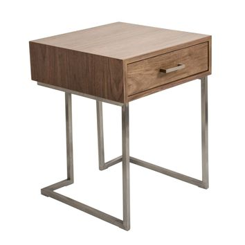 Roman End Table / Night Stand Walnut Wood, Stainless Steel Silver Frame