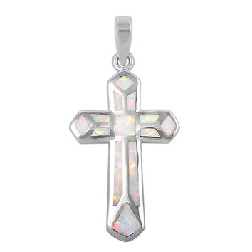"""Sterling Silver Lab White Opal Cross Pendant 33MM (Free 18"""" Chain)"""