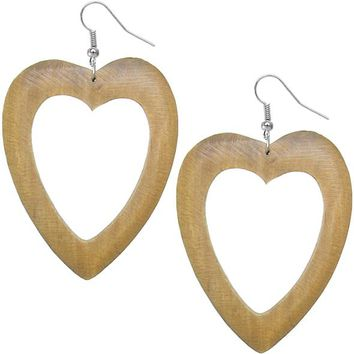 Tan Wooden Heart Earrings